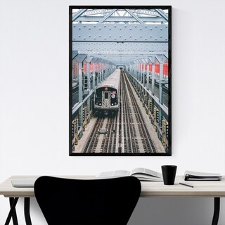 Noir Gallery Williamsburg Bridge Train NYC Framed Art Print