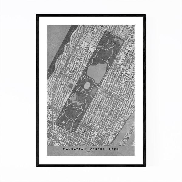Shop Noir Gallery Manhattan New York City Map Framed Art Print