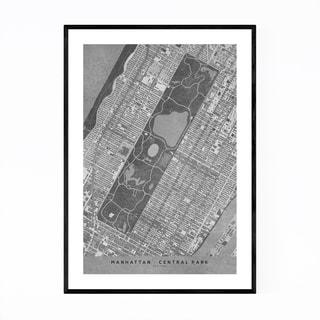 Noir Gallery Manhattan New York City Map Framed Art Print