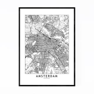 Noir Gallery Amsterdam Black & White City Map Framed Art Print