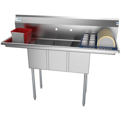 KoolMore 54-Inch Three Compartment Stainless Steel Commercial Kitchen Sink