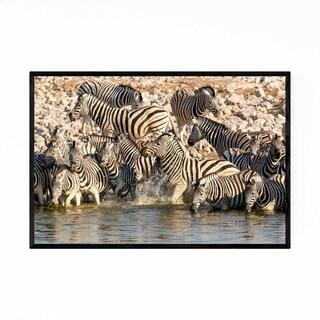 Noir Gallery Namibia Africa Zebras Wildlife Framed Art Print