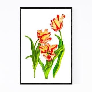 Noir Gallery Parrot Tulip Floral Botanical Framed Art Print