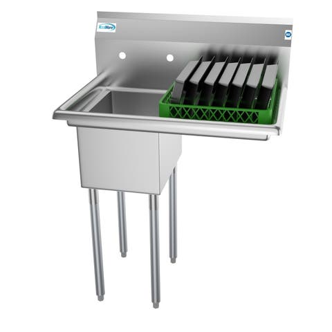 KoolMore 31-Inch Stainless Steel Commercial Kitchen Prep and Utility Sink - Right Drainboard