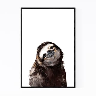 Noir Gallery Cute Sloth Peekaboo Animal Framed Art Print