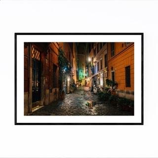 Noir Gallery Rome Italy Cobblestone Street Framed Art Print