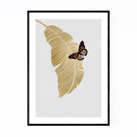 Noir Gallery Butterflu & Palm Tree Botanical Framed Art Print
