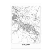 Noir Gallery Bilbao Black & White City Map Unframed Art Print/Poster