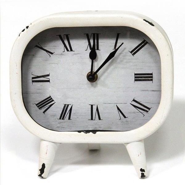 Stratton Home Decor Susie Retro White Metal Table Clock