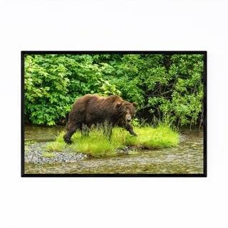 Noir Gallery Grizzly Bear Animal Wildlife Framed Art Print