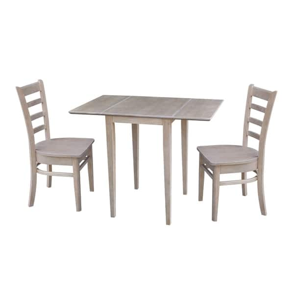Brilliant Shop Small Dual Drop Leaf Table With Two Chairs Washed Gray Ibusinesslaw Wood Chair Design Ideas Ibusinesslaworg