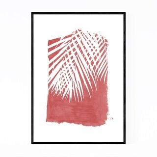 Noir Gallery Red Nature Botanical Palm Leaves Framed Art Print