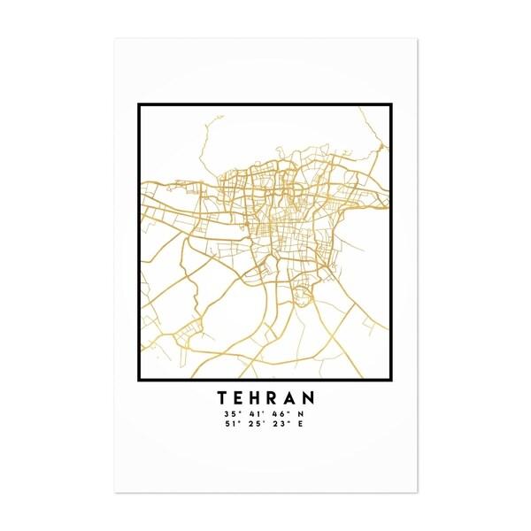 Noir Gallery Minimal Tehran City Map Unframed Art Print/Poster