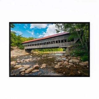 Noir Gallery New Hampshire Red Covered Bridge Framed Art Print