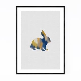 Noir Gallery Abstract Blue Rabbit Animal Framed Art Print