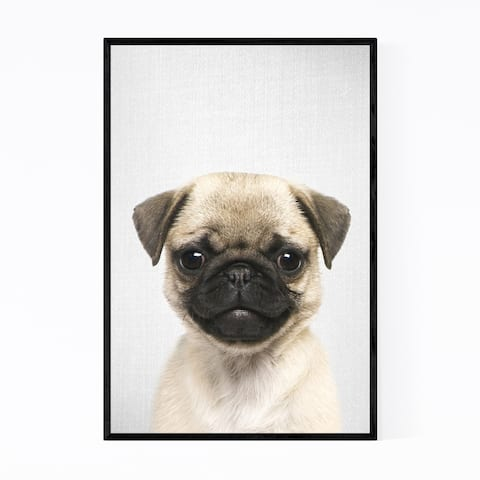Noir Gallery Pug Puppy Nursery Peeking Animal Framed Art Print