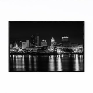 Noir Gallery Peoria, Illinois Skyline Night Framed Art Print
