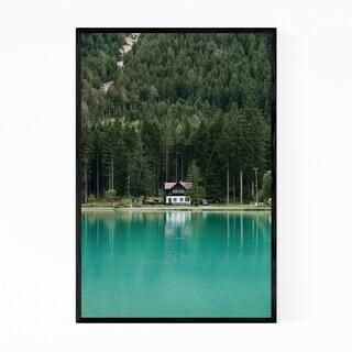 Noir Gallery Italy Dolomites Mountains Lake Framed Art Print