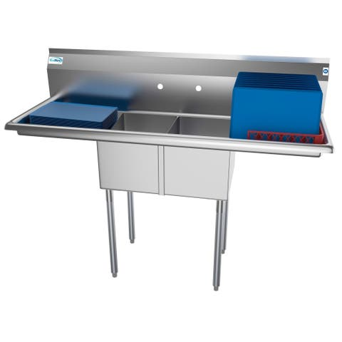 KoolMore 56-Inch Two Compartment Stainless Steel Commercial Kitchen Prep Sink