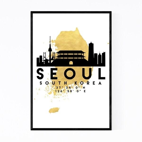 Noir Gallery Minimal Seoul Skyline Framed Art Print