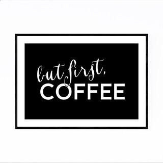 Noir Gallery Black Coffee Kitchen Typography  Framed Art Print