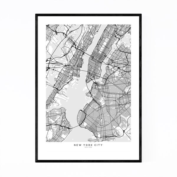 Noir Gallery Scandinavian New York City Map Framed Art Print