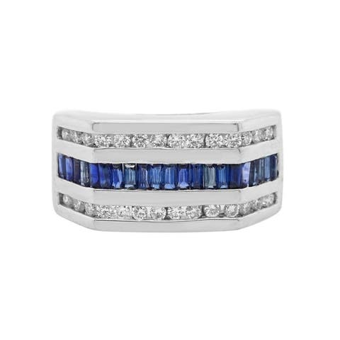 18K White Gold Diamond & Sapphire Vintage Band Ring (H - I, VS1 - VS2) Size - 6.75