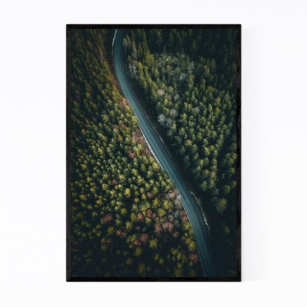 Noir Gallery Road in Forest Sweden Landscape Framed Art Print