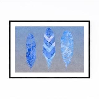 Noir Gallery Blue Grey Feather Watercolor Framed Art Print