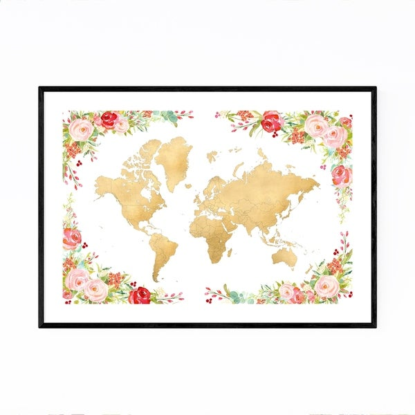 Noir Gallery Floral Gold Watercolor World Map Framed Art Print