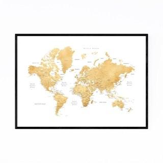 Noir Gallery Gold World Map with Cities Framed Art Print