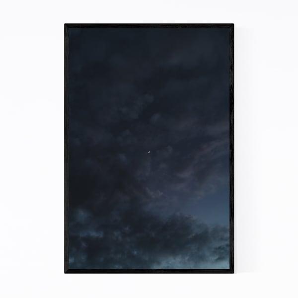 Noir Gallery Crescent Moon Dark Gloomy Clouds Framed Art Print