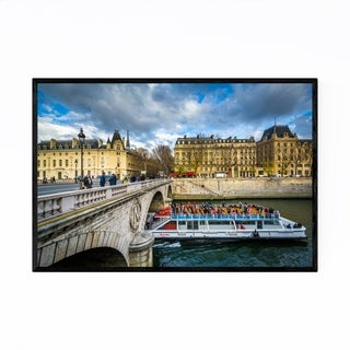 Noir Gallery Paris France Boat in the Seine Framed Art Print