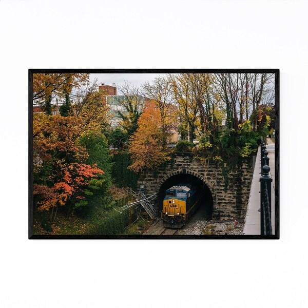 Noir Gallery Railroad Fall Autumn Foliage Framed Art Print