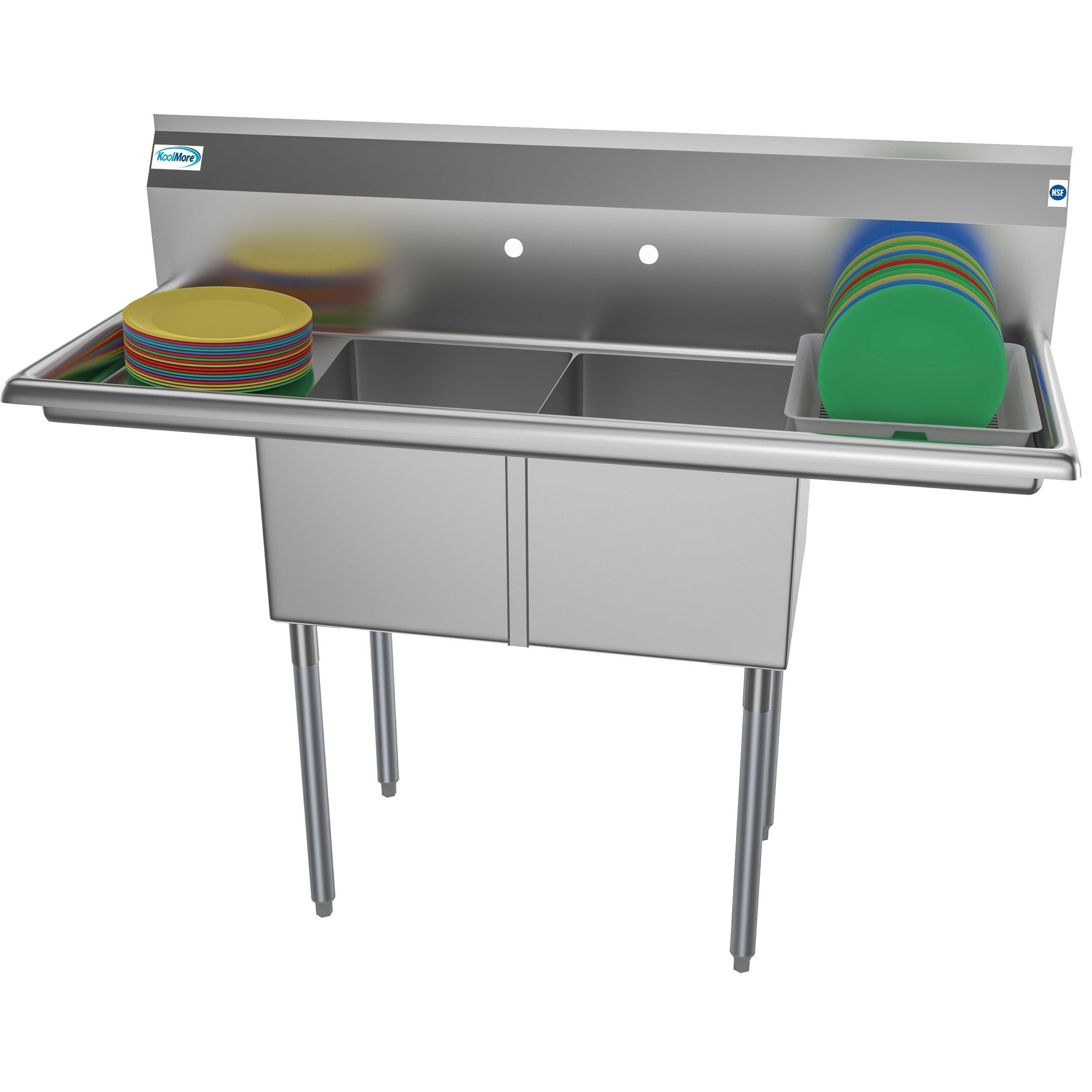 Koolmore 52 Inch Two Compartment Stainless Steel Commercial Kitchen Prep Sink 2 Drainboards Overstock 27457933