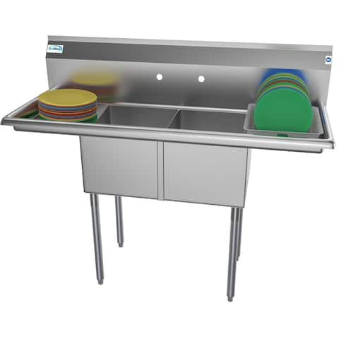 KoolMore 52-Inch Two Compartment Stainless Steel Commercial Kitchen Prep Sink - 2 Drainboards
