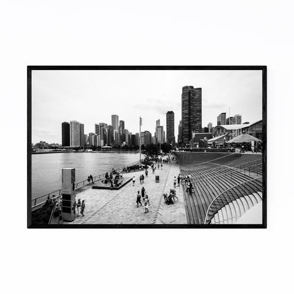 Noir Gallery Chicago Navy Pier Skyline Urban Framed Art Print