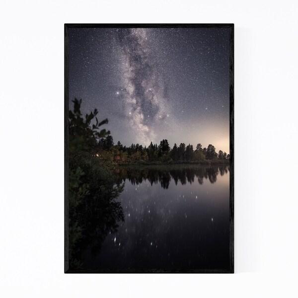 Noir Gallery Milky Way Night Lapland Finland Framed Art Print