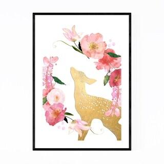 Noir Gallery Floral Gold Deer Doe Animal Framed Art Print