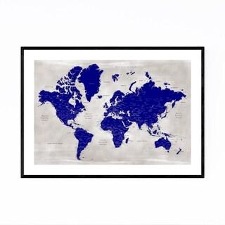 Noir Gallery Blue World Map with Cities Framed Art Print
