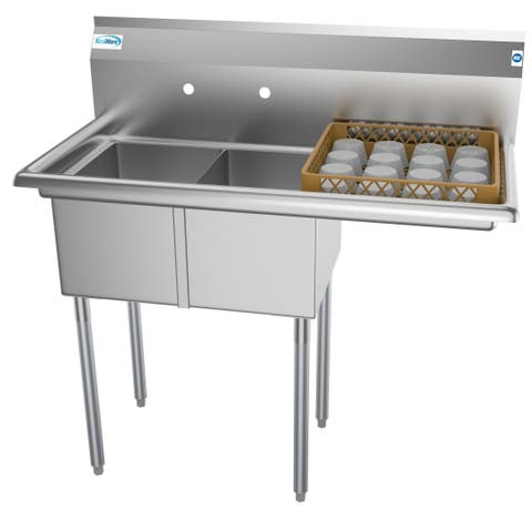 KoolMore 43-Inch Two Compartment Stainless Steel Commercial Kitchen Prep Sink - Rigth Drainboard