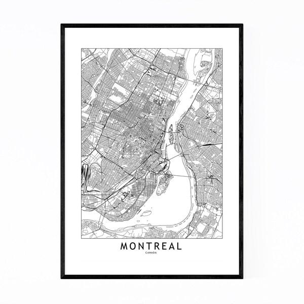 picture regarding Printable Map of Montreal named Retail outlet Noir Gallery Montreal Black White Metropolis Map Framed Artwork