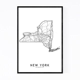 Noir Gallery New York Black & White State Map Framed Art Print