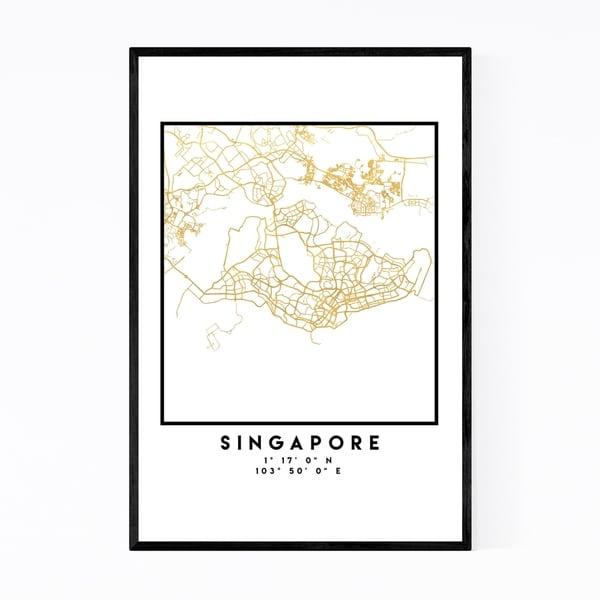Noir Gallery Minimal Singapore City Map Framed Art Print