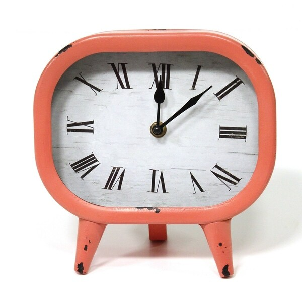 Porch & Den Nyssa Coral Finish Retro Metal Table Clock