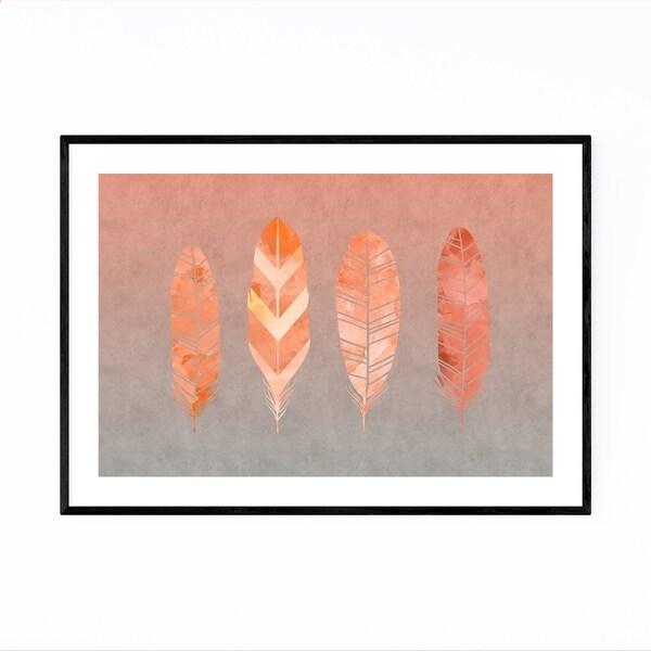 Noir Gallery Orange Feather Watercolor Fall Framed Art Print