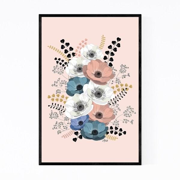 Noir Gallery Anemone Digital Flower Pattern Framed Art Print