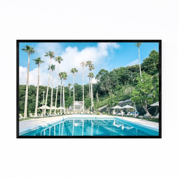 Noir Gallery Japan Beach Palm Trees Pool Framed Art Print