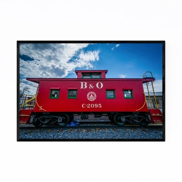 Noir Gallery Railroad Train Red Caboose Framed Art Print