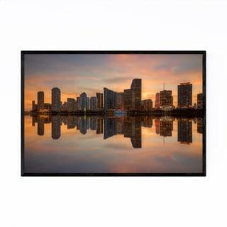 Noir Gallery Miami Florida Skyline Sunset Framed Art Print